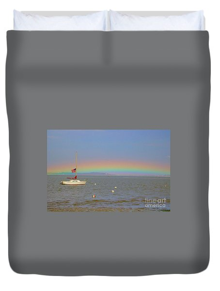 Duvet Cover featuring the photograph Rainbow by Amazing Jules