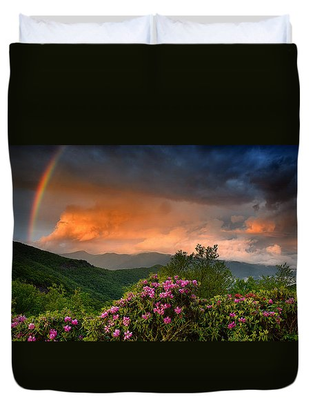 Rainbow And Rhododendrons On The Parkway Duvet Cover