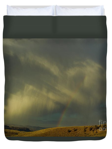 Rainbow And White Light-signed-#9456 Duvet Cover by J L Woody Wooden