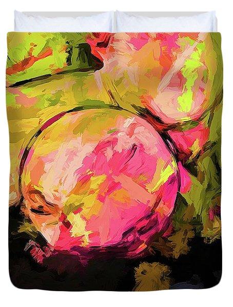 Rainbow Apples Graffiti Green Duvet Cover
