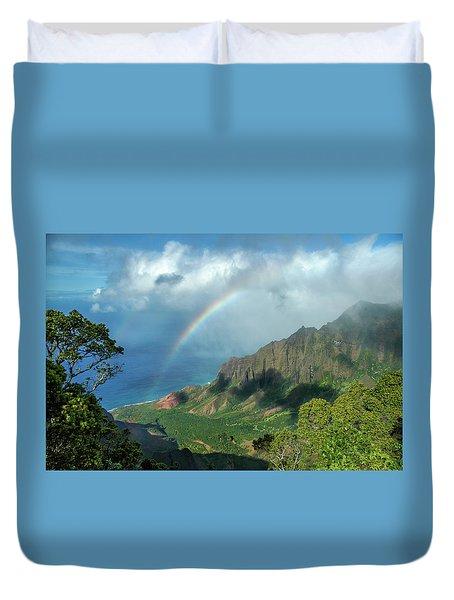 Rainbow At Kalalau Valley Duvet Cover by James Eddy