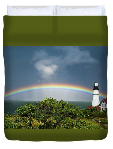 Rainbow At Portland Headlight Duvet Cover