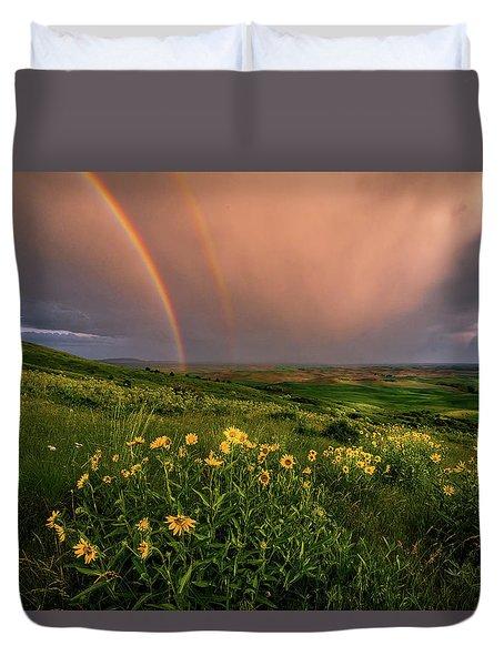 Rainbow At Steptoe Butte Duvet Cover