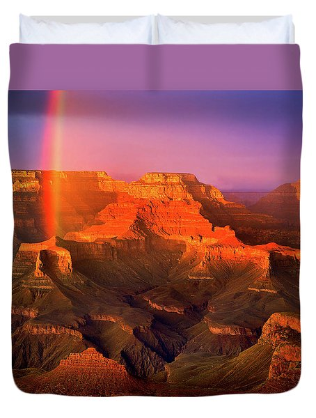 Rainbow At The Grand Canyon Duvet Cover