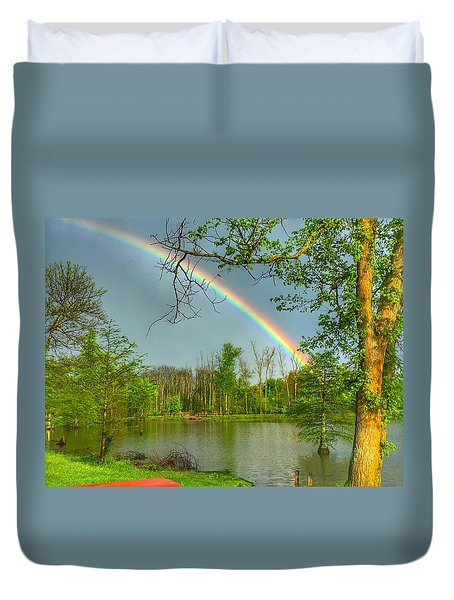 Rainbow At The Lake Duvet Cover