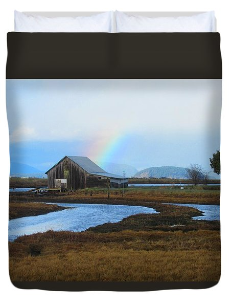 Rainbow, Bay, And Barn Duvet Cover
