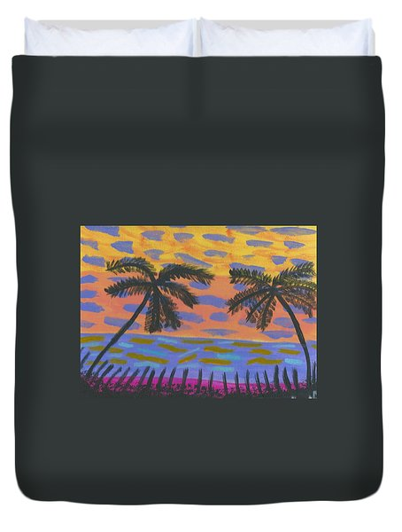 Duvet Cover featuring the painting Rainbow Beach by Artists With Autism Inc