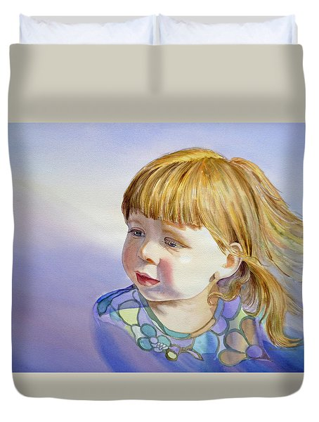 Rainbow Breeze Girl Portrait Duvet Cover by Irina Sztukowski
