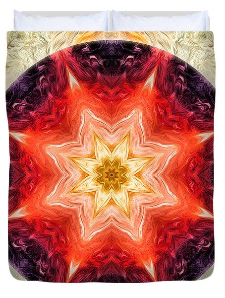 Rainbow Burst Mandala Duvet Cover