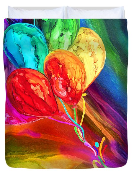 Duvet Cover featuring the mixed media Rainbow Chaser by Carol Cavalaris