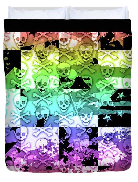 Rainbow Checker Skull Splatter Duvet Cover by Roseanne Jones