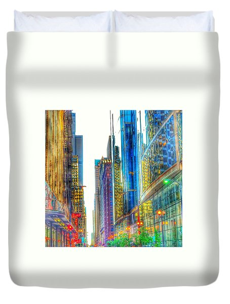 Duvet Cover featuring the photograph Rainbow Cityscape by Marianne Dow