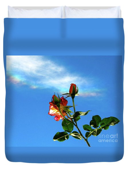 Rainbow Cloud And Sunlit Roses Duvet Cover