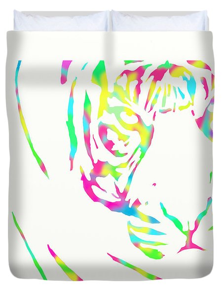 Rainbow Coloured Tiger Duvet Cover