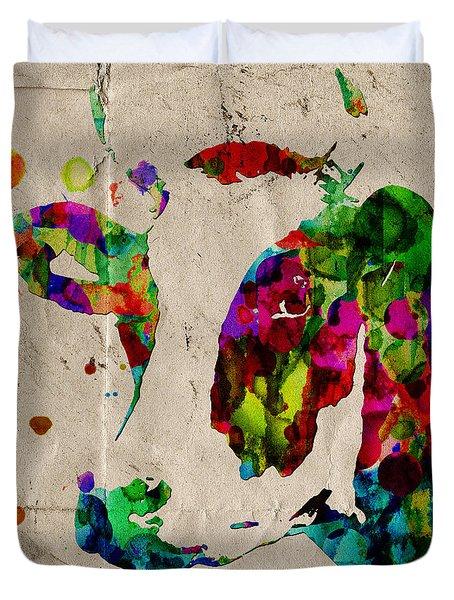 Rainbow Cow Print Poster Duvet Cover