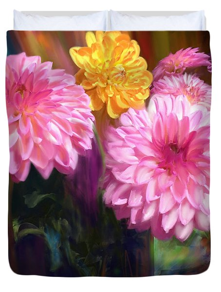 Rainbow Dahlias Duvet Cover