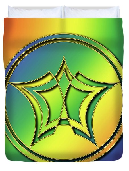 Duvet Cover featuring the digital art Rainbow Design 1 by Chuck Staley
