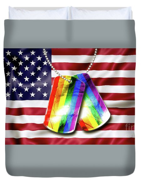 Rainbow Dog Tags Duvet Cover