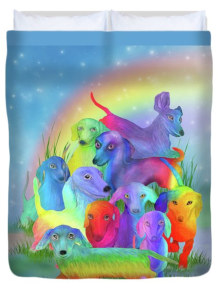 Duvet Cover featuring the mixed media Rainbow Dachshunds 1 by Carol Cavalaris