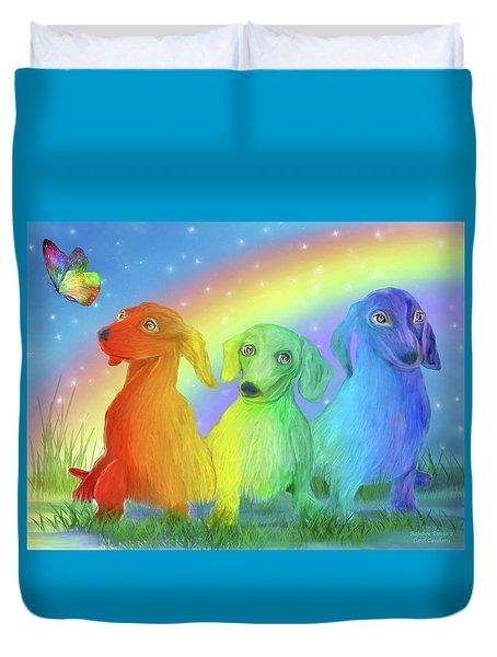 Duvet Cover featuring the mixed media Rainbow Doxies 2 by Carol Cavalaris