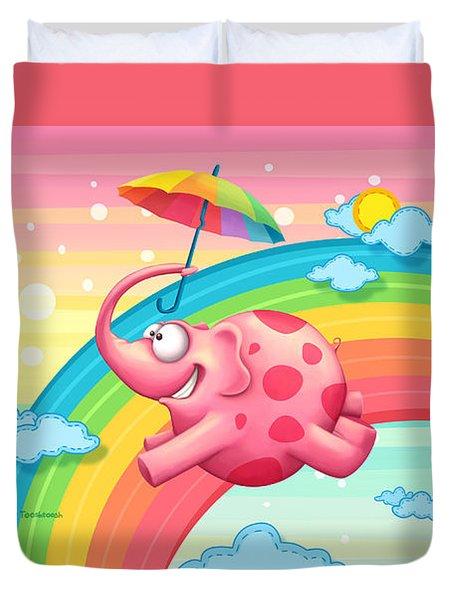Rainbow Elephants Duvet Cover
