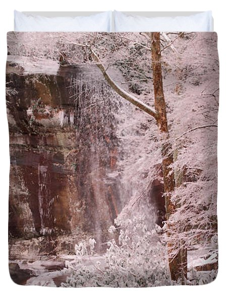 Rainbow Falls Smoky Mountain National Park -- Painted Photo. Duvet Cover by Christopher Gaston