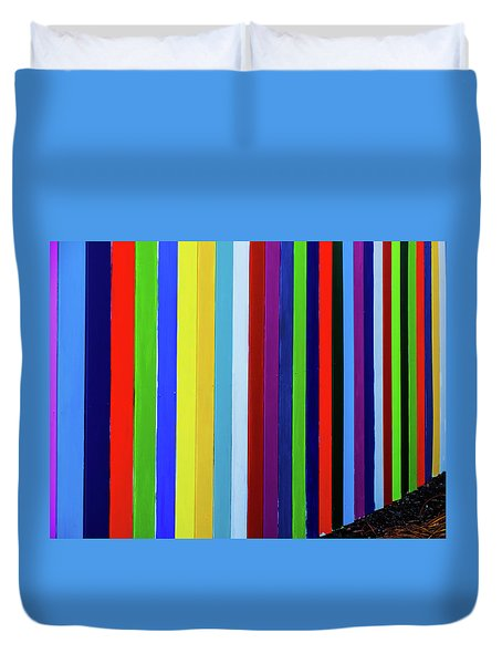 Rainbow Fence Duvet Cover