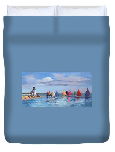 Rainbow Fleet Parade At Brant Point Duvet Cover