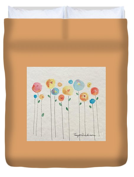 Rainbow Floral Duvet Cover