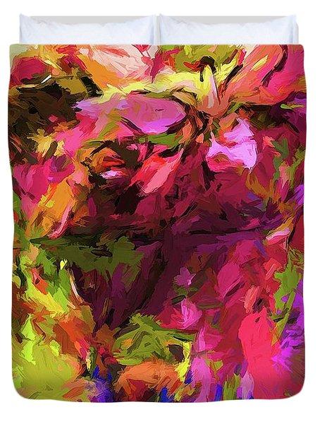 Rainbow Flower Rhapsody Pink Cobalt Blue Duvet Cover