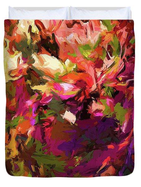 Rainbow Flower Rhapsody Purple Green Duvet Cover