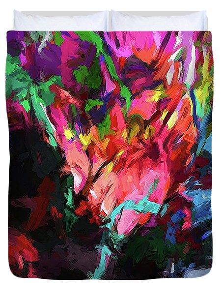 Rainbow Flower Rhapsody Red Turquoise Blue Duvet Cover