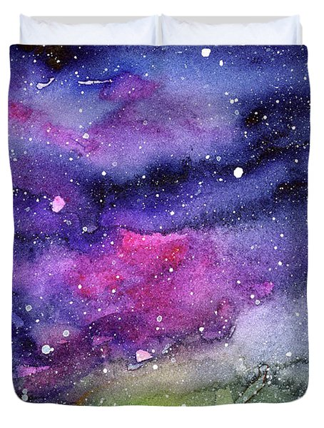 Rainbow Galaxy Watercolor Duvet Cover