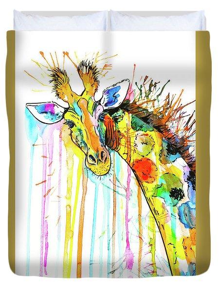 Duvet Cover featuring the painting Rainbow Giraffe by Zaira Dzhaubaeva