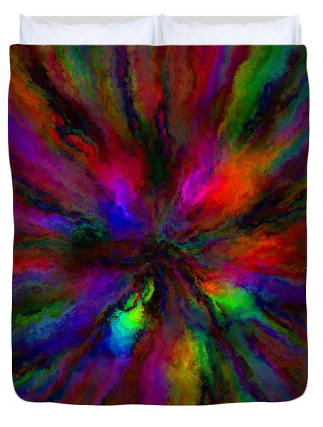 Rainbow Grunge Abstract Duvet Cover