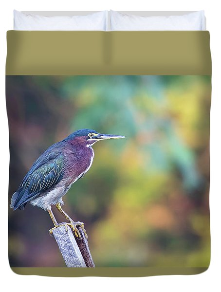 Rainbow Heron Duvet Cover