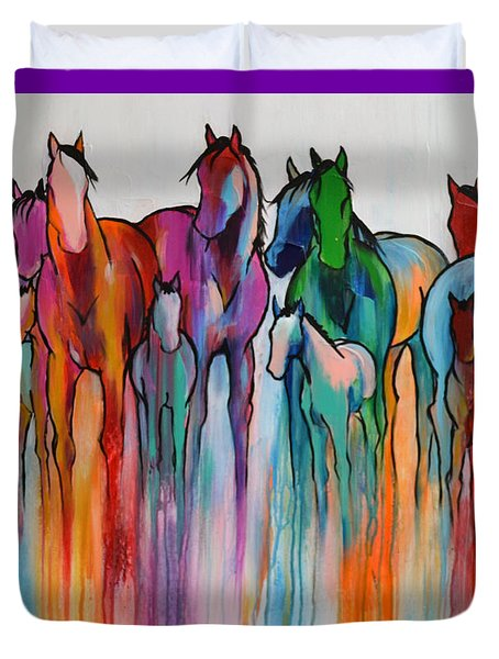 Duvet Cover featuring the painting Rainbow Horses by Cher Devereaux