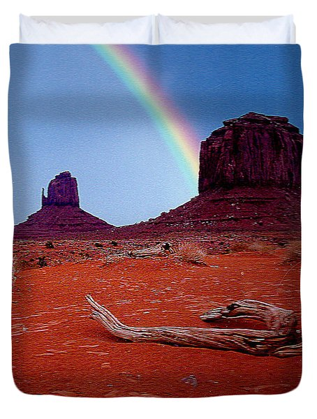 Rainbow In Monument Valley Arizona Duvet Cover