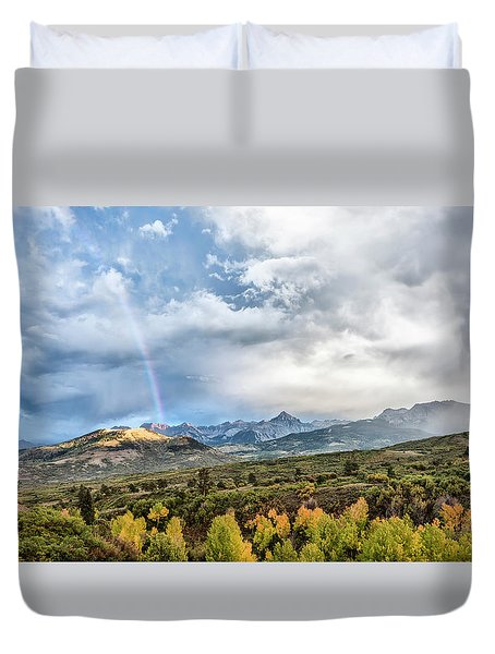 Duvet Cover featuring the photograph Rainbow In The San Juan Mountains by Jon Glaser