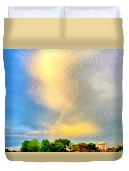 Rainbow In The Suburbs Duvet Cover