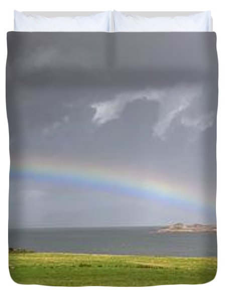 Duvet Cover featuring the photograph Rainbow, Island Of Iona, Scotland by John Short