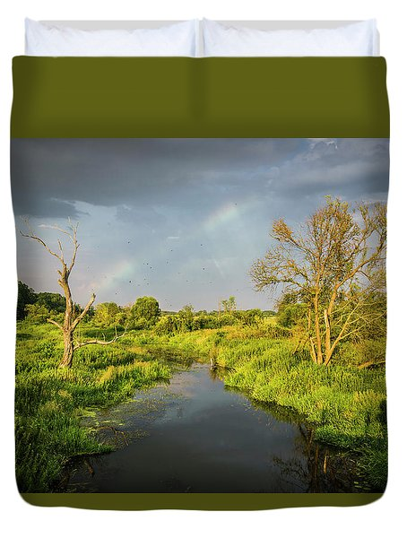 Duvet Cover featuring the photograph Rainbow by Jaroslaw Grudzinski