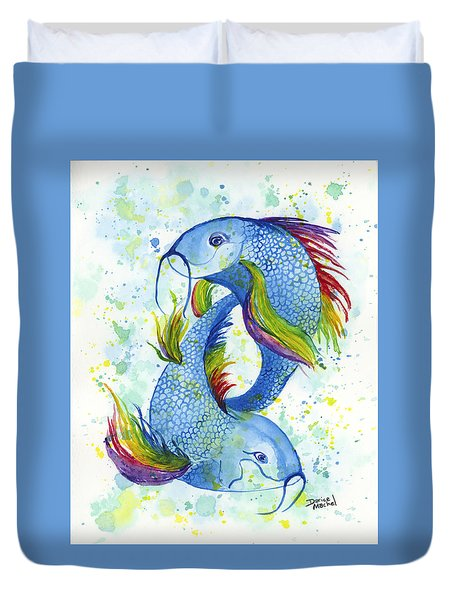 Rainbow Koi Duvet Cover by Darice Machel McGuire