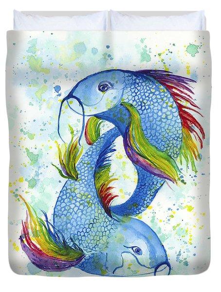 Rainbow Koi Duvet Cover