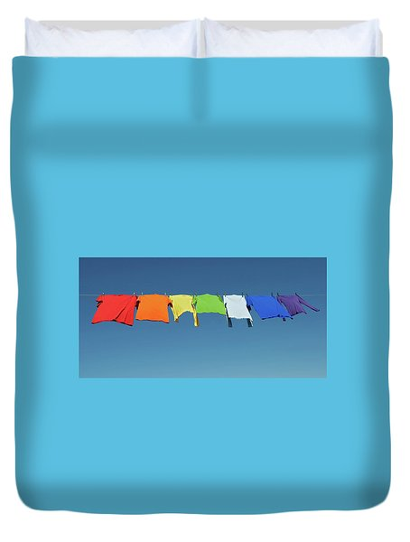 Rainbow Laundry, Bright Shirts On A Clothesline Duvet Cover