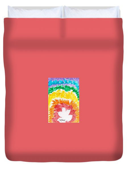 Duvet Cover featuring the painting Rainbow Leaf by Artists With Autism Inc