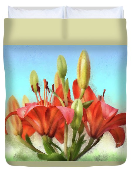 Duvet Cover featuring the photograph Rainbow Lilies by Lois Bryan