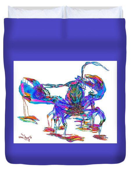Rainbow Lobster On Acid Duvet Cover