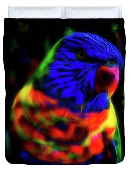 Rainbow Lorikeet - Fractal Duvet Cover