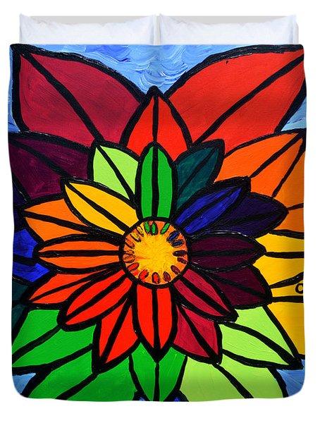 Rainbow Lotus Flower Duvet Cover